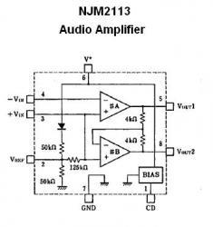 NJM2113D Low-Voltage Audio Amplifier