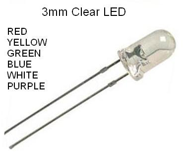 3mm Clear Body 6 Assorted Color Leds With Resistors