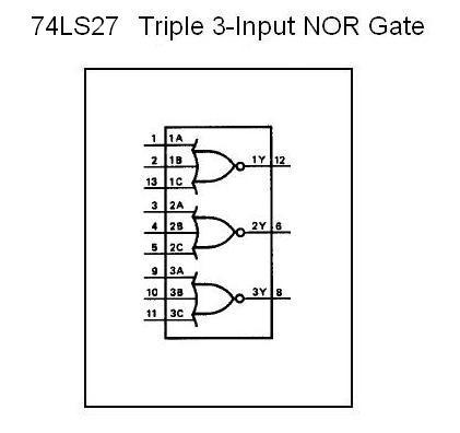 74ls27 Triple 3 Input Nor Gate Nightfire Electronics Llc